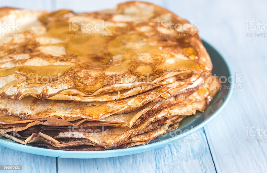 Pile of crepes on the plate royalty-free stock photo