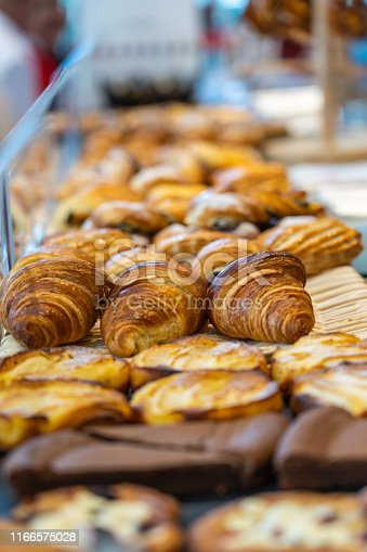 Pile of croissant and buns for sale at patisserie store