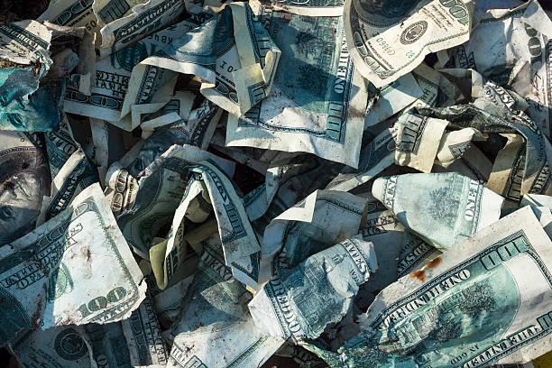 pile of crumpled dollars - dirty money bildbanksfoton och bilder