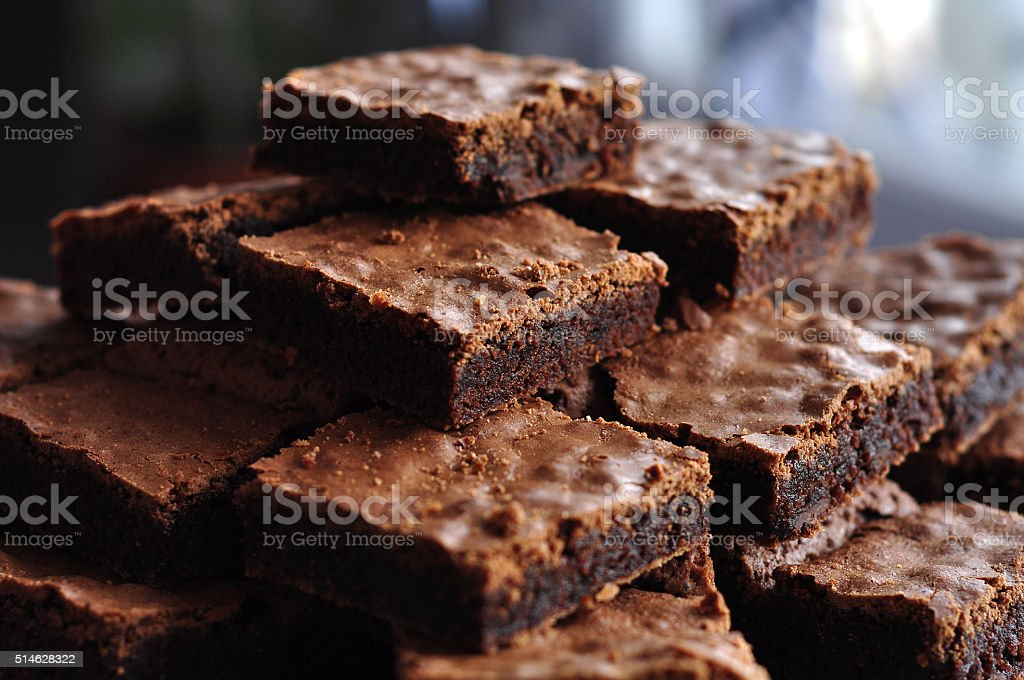 Pile of Delicious Chocolate Brownies stock photo