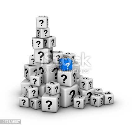 850704072 istock photo pile of dices with question marks 179128587