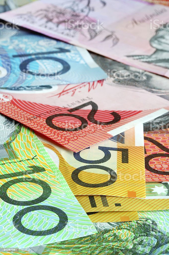 A pile of different Australian money royalty-free stock photo