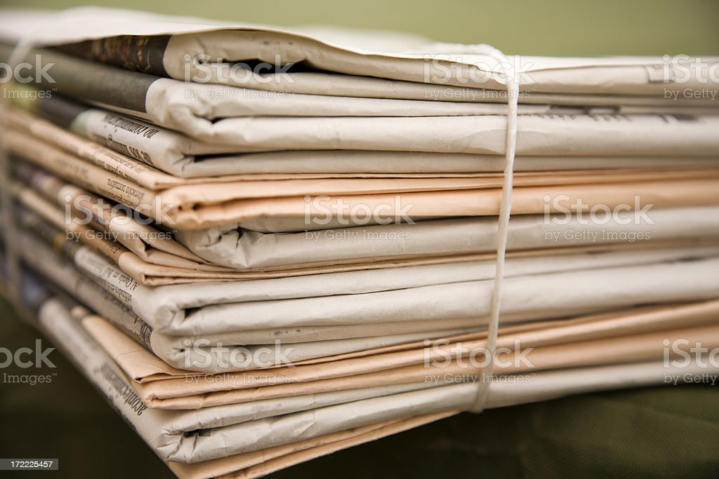 Pile of different color newspapers royalty-free stock photo