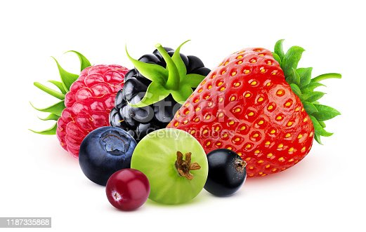 827935944 istock photo Pile of different wild berries isolated on white background with clipping path 1187335868