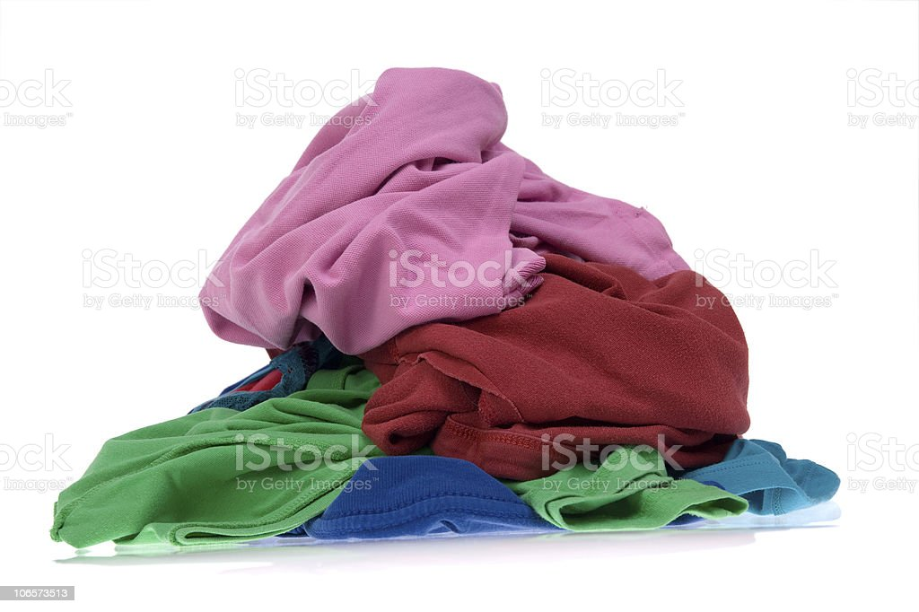 Pile of dirty clothes for the laundry royalty-free stock photo