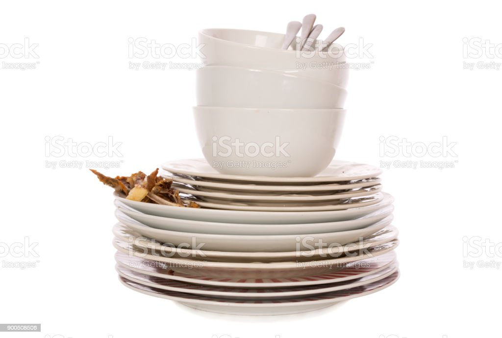 Haufen von schmutzigem Geschirr – Foto