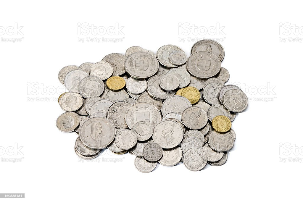 Pile of Dirty Swiss Franc and Rappen Coins stock photo