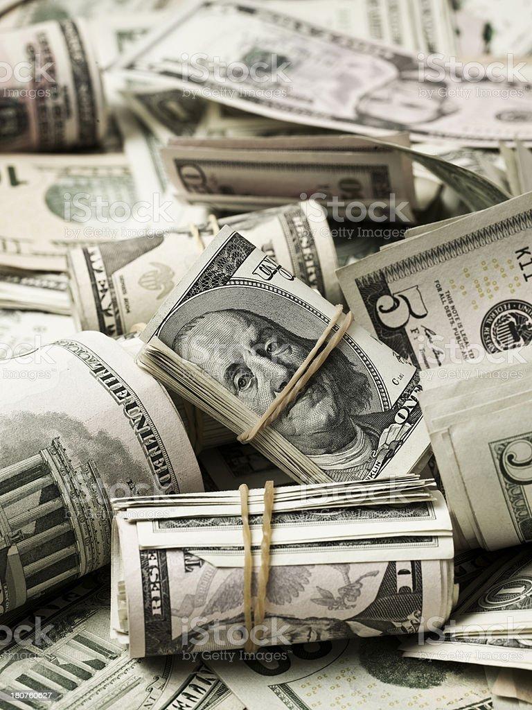Pile of dollar bills royalty-free stock photo