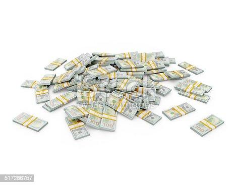 istock Pile of dollar bundles 517286757
