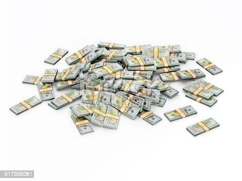 istock Pile of dollar bundles 517305081