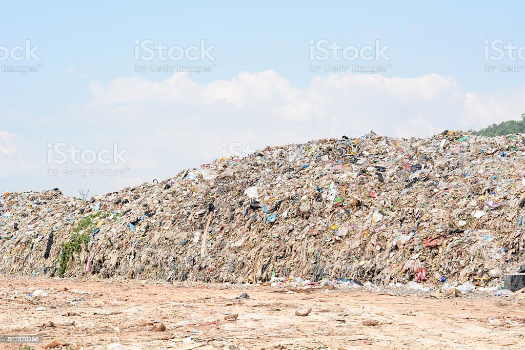 Pile of domestic garbage in landfill stock photo
