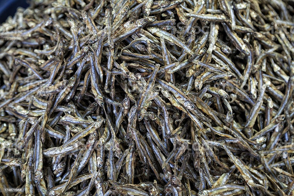 Pile of dried fish royalty-free stock photo