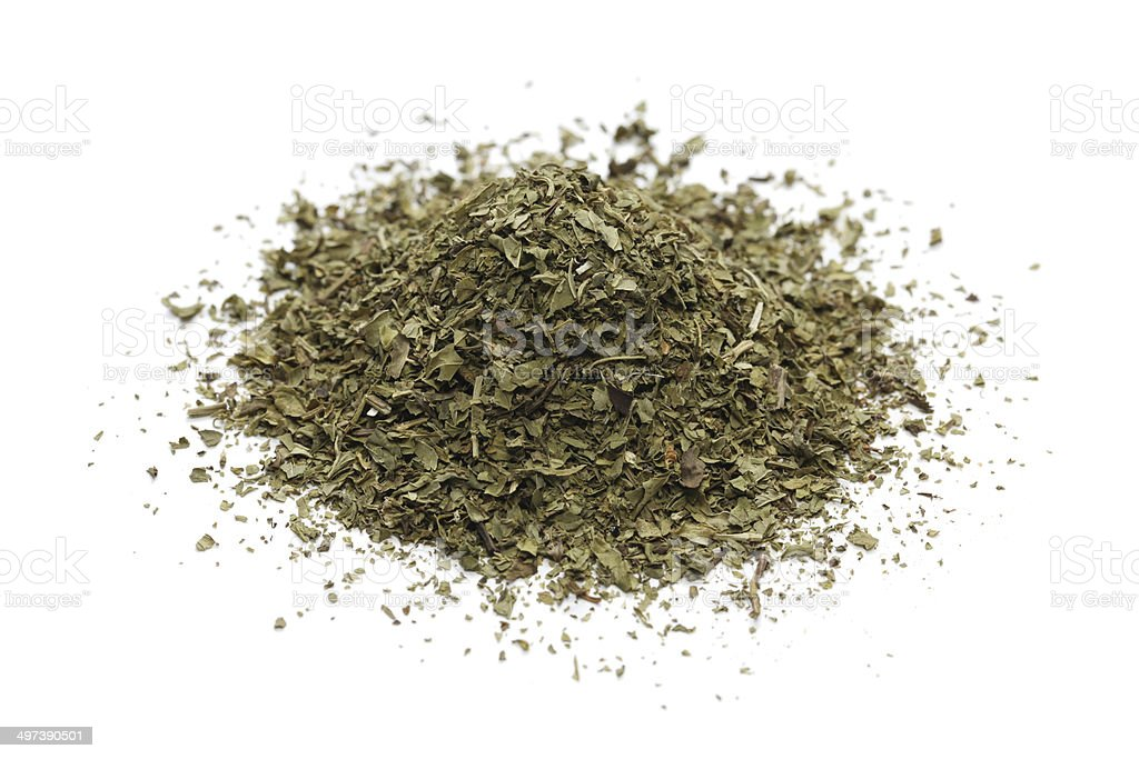 pile of dried mint stock photo