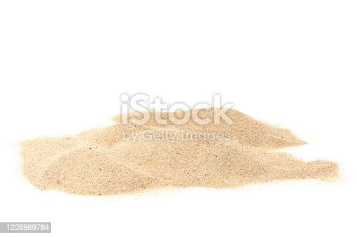 istock A pile of dry beach sand. Sand dune isolated on white background. Clipping path 1226989784