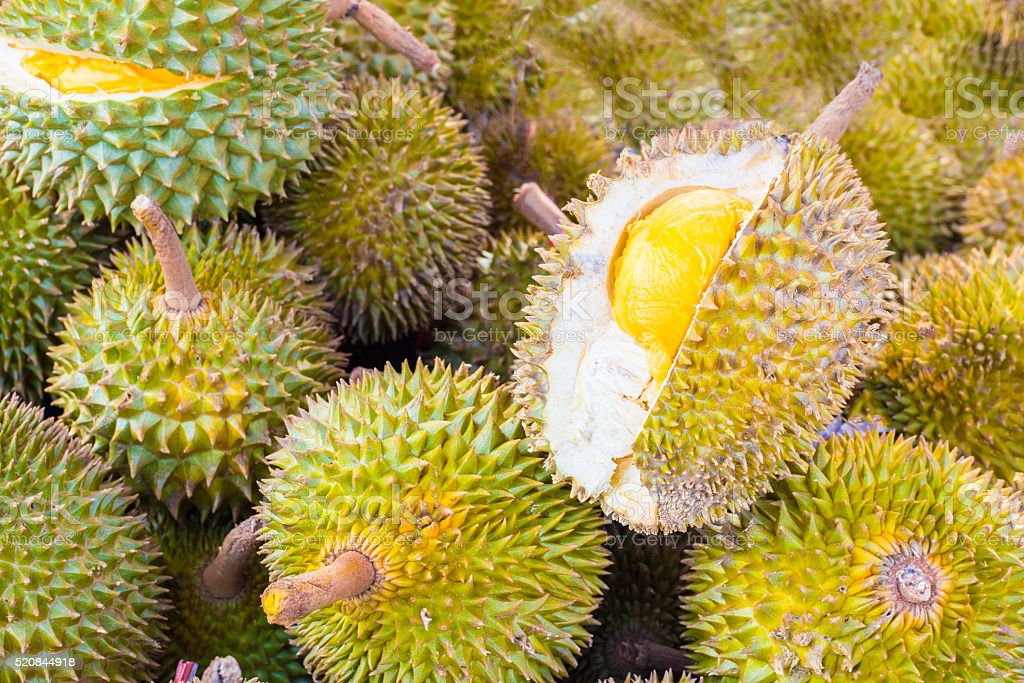 Pile of durian fruits on a Malaysian market stock photo