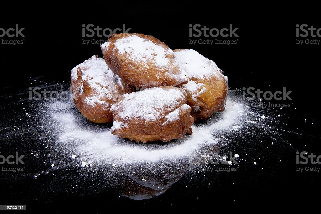 Pile of Dutch donut also known as oliebollen stock photo