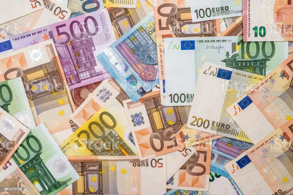 pile of euro banknotes as background stock photo