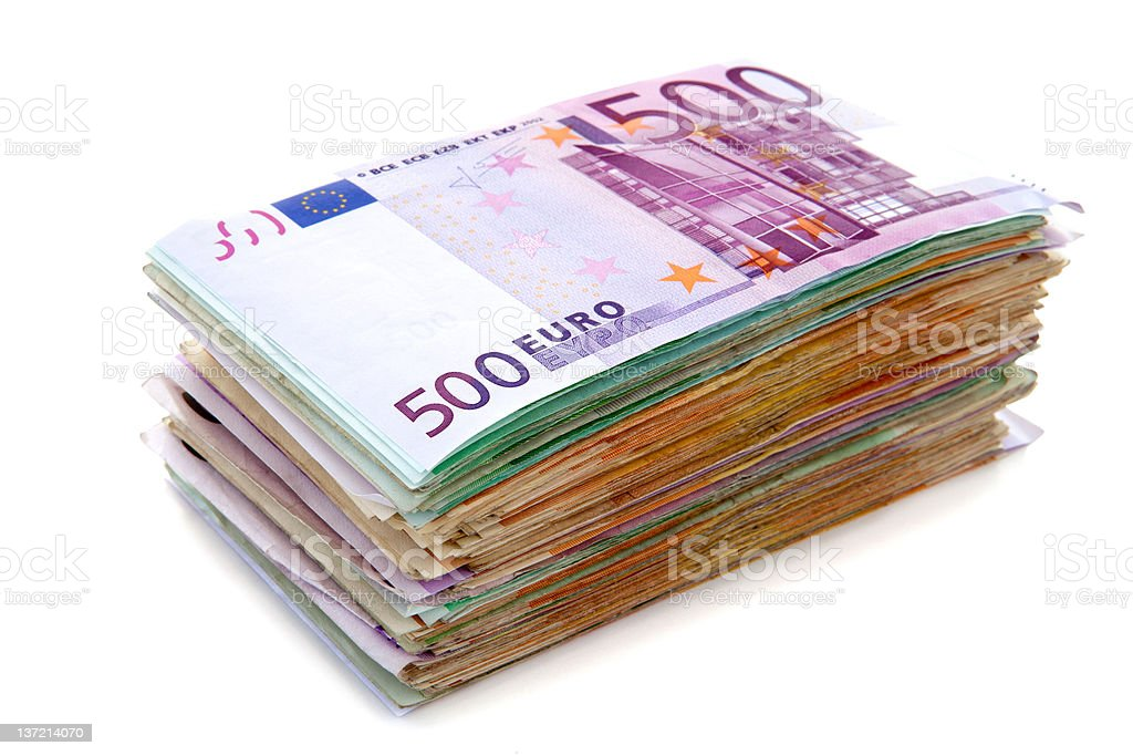 Pile of euro banknotes stock photo