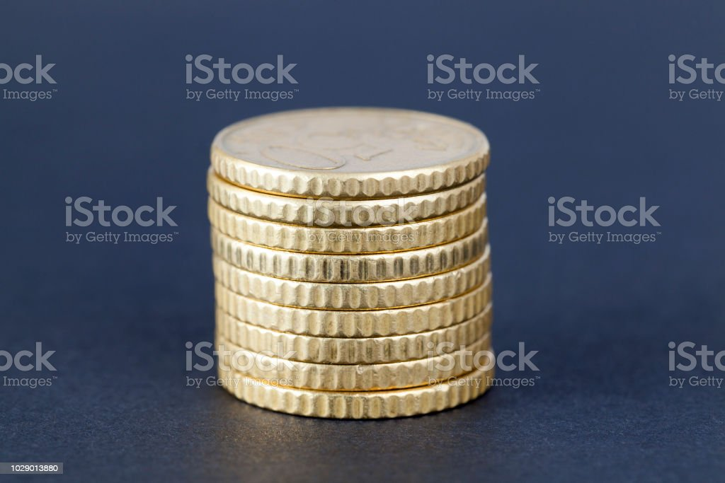 pile of euro cents for fifty stock photo