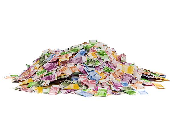 Pile of Euro notes stock photo