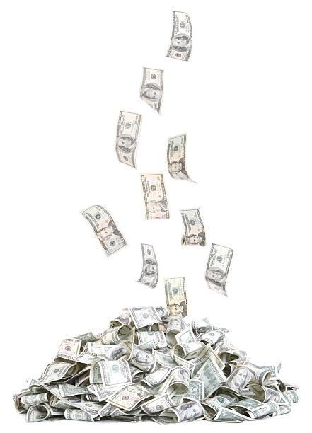 haufen sinkende geld - sterntaler stock-fotos und bilder