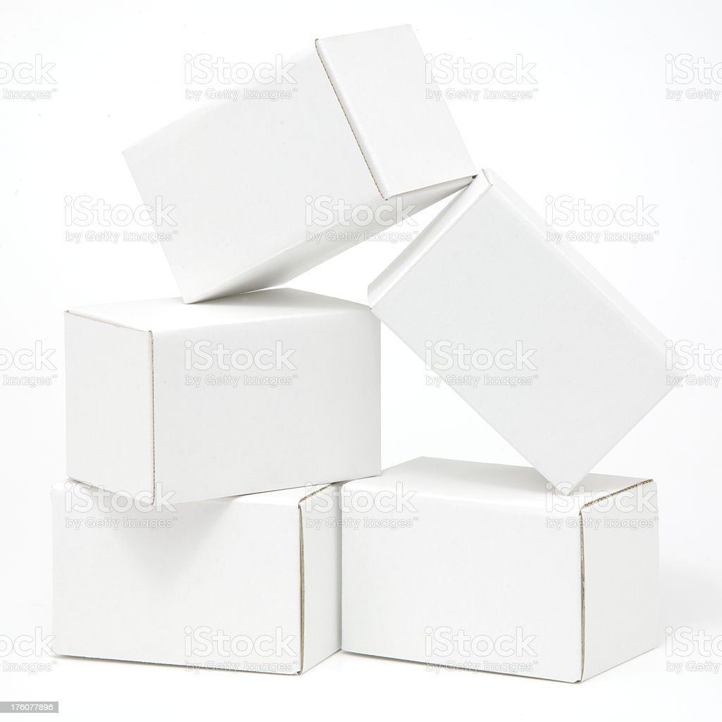 Pile of five blank white carton ready for labels royalty-free stock photo