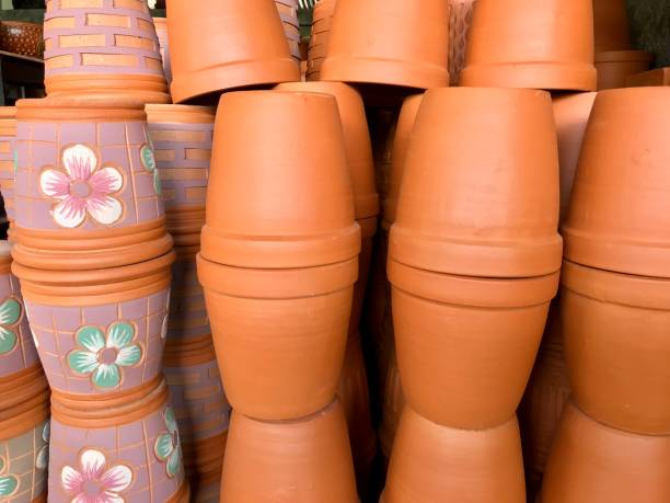 Pile of flower pots selling in gardening store stock photo