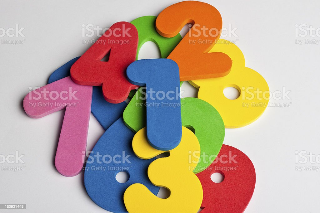 Pile of foam numbers royalty-free stock photo