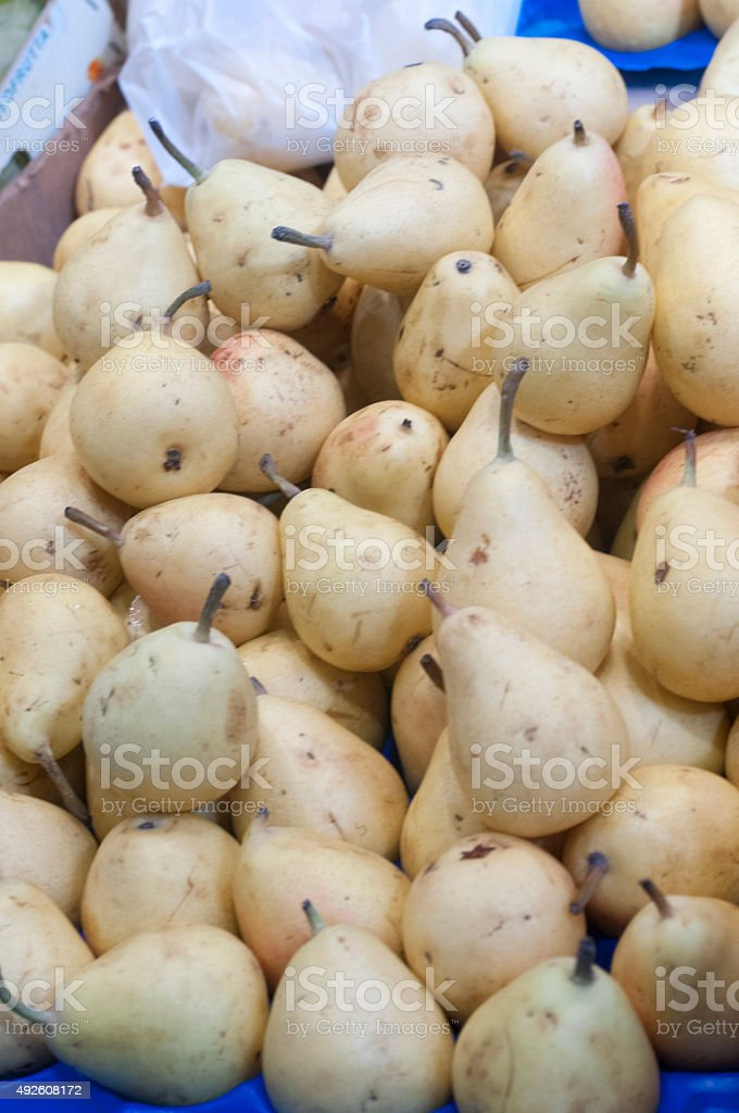 Pile of fresh and ripe pears stock photo