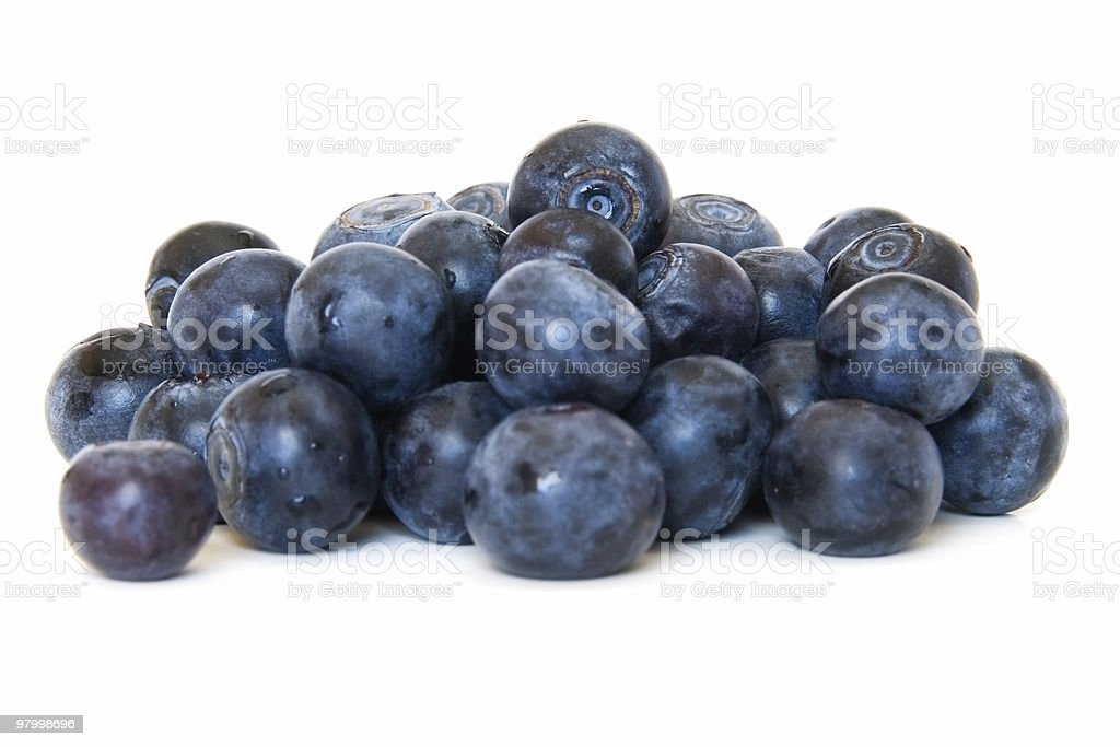 Pile of fresh blueberries on white royalty-free stock photo