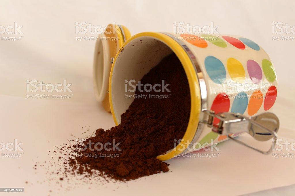 Pile of fresh ground coffee stock photo