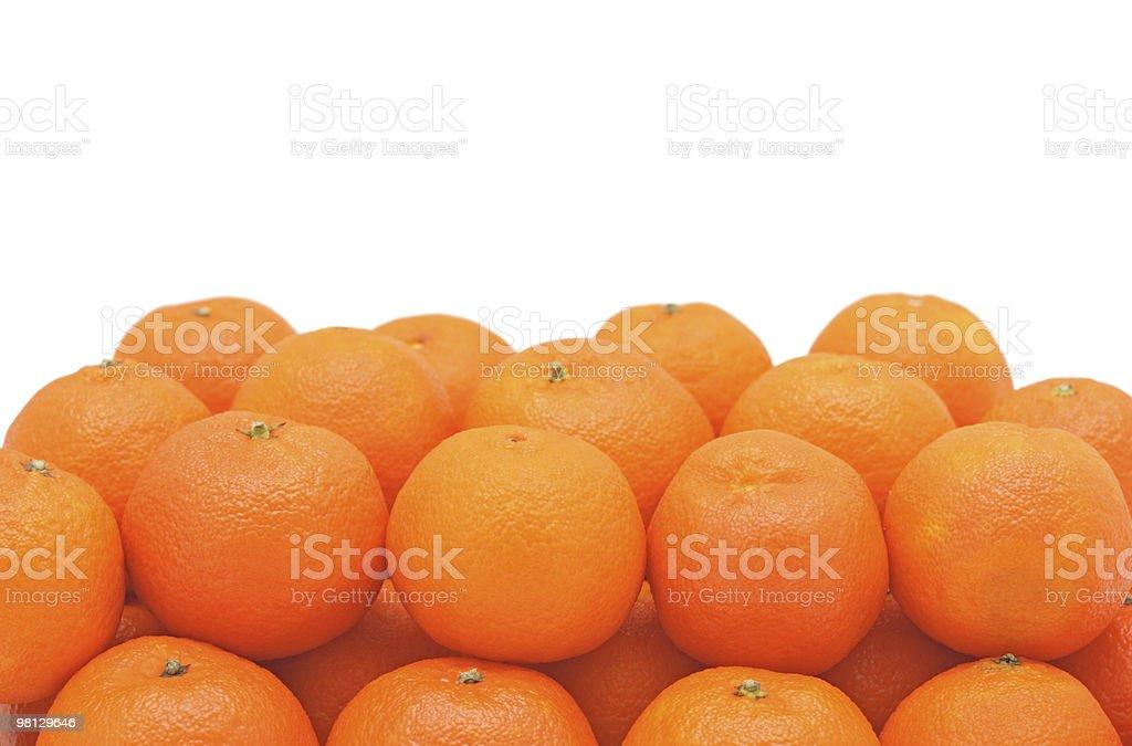 Pile of fresh tangerines, isolated royalty-free stock photo