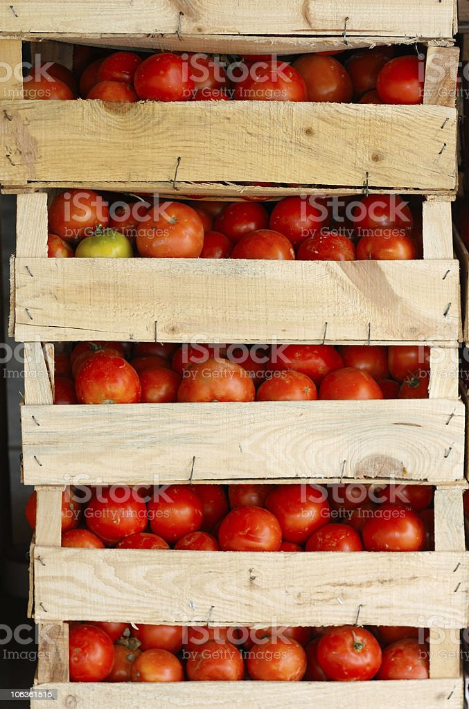 Pile of fresh tomatoes on crates royalty-free stock photo