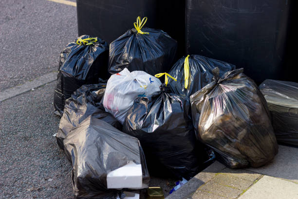 Pile of garbage bags stock photo