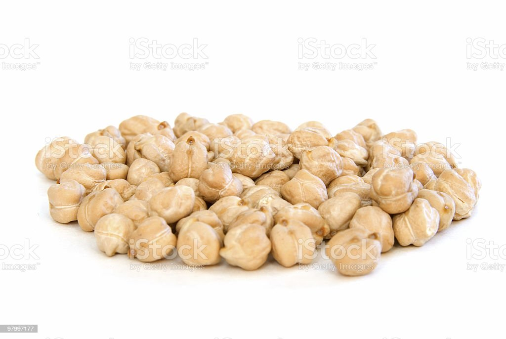 Pile of garbanzo beans on white royalty-free stock photo