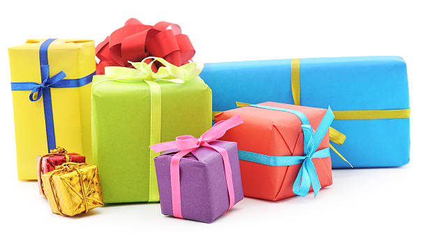 pile of gifts. - birthday gift stock photos and pictures