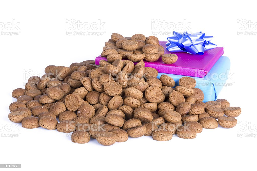 Pile of ginger nuts and presents, a Dutch tradition stock photo