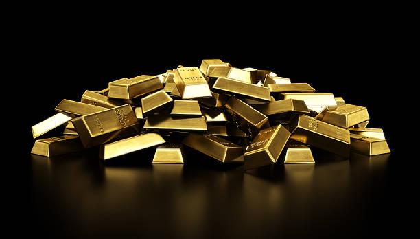 Haufen von gold bars – Foto