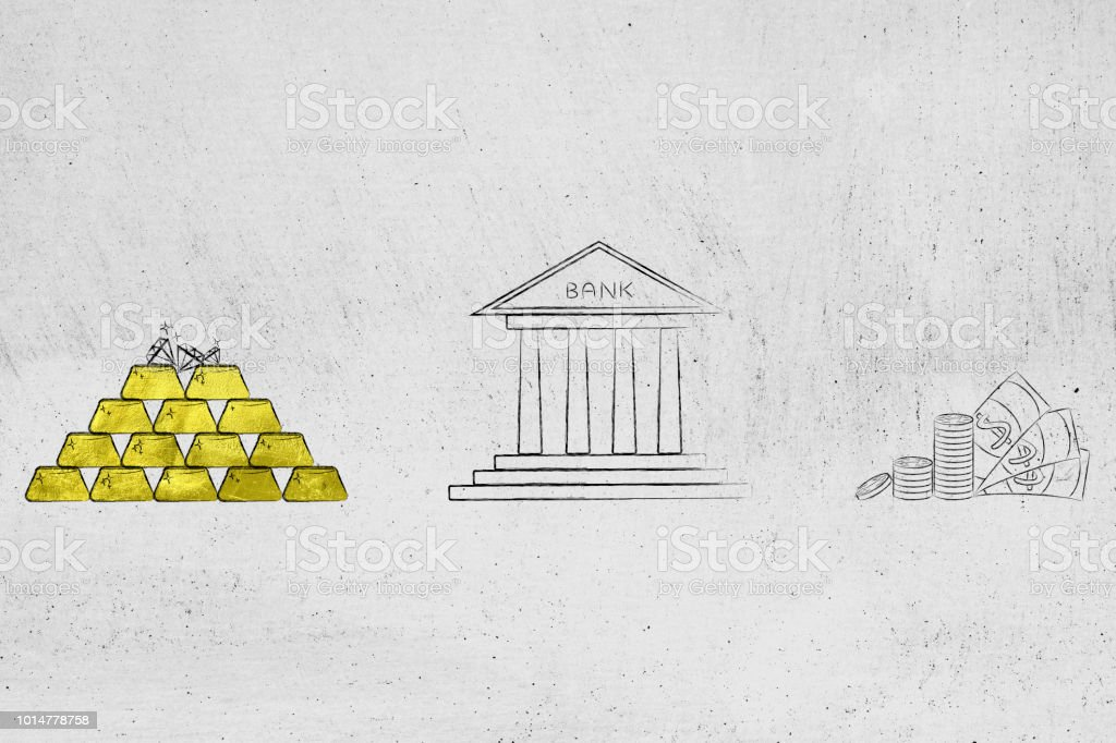 pile of gold ingots next to bank building and cash стоковое фото