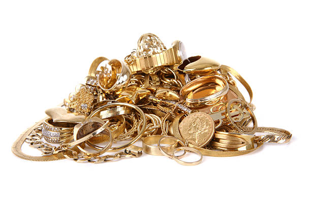 pile of gold jewelry - jewelry stock photos and pictures