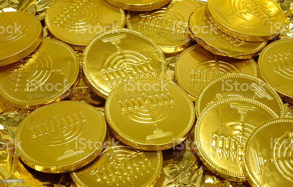 Pile of gold Jewish coins known as Gelt stock photo