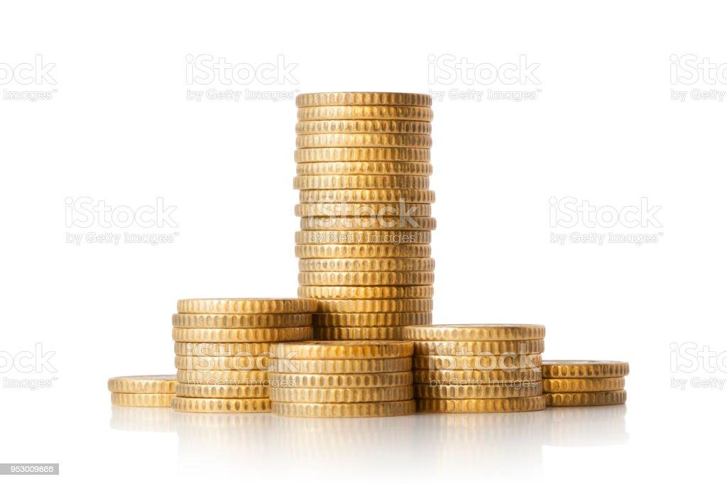 白色背景上的金幣堆 - 免版稅5毫歐羅圖庫照片
