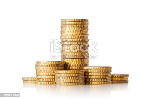 Pile of golden coins on white background.