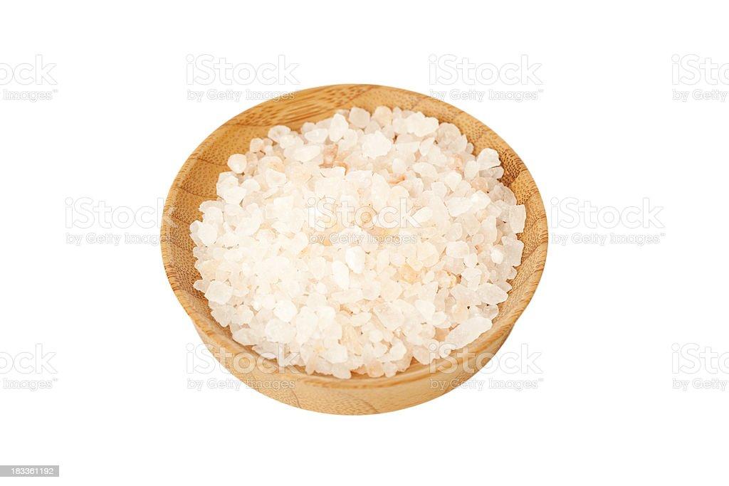 Pile of gourmet Himalayan pink sea salt in a bowl stock photo