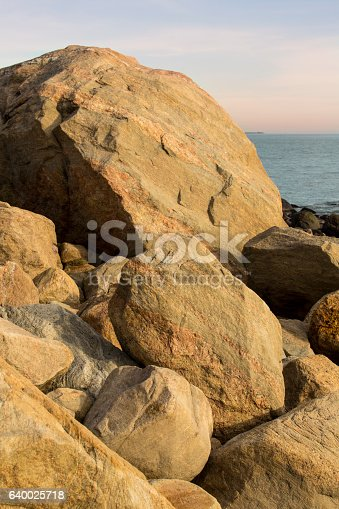 Pile of granite boulders left by glaciers on the beach at Hammonasset in Madison, Connecticut.