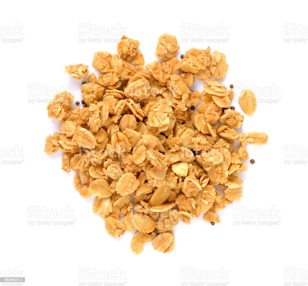 Pile of granola cereal with nuts isolated on white - Royalty-free Berry Stock Photo