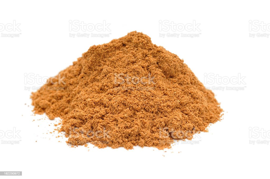 Pile of ground cinnamon on white background stock photo