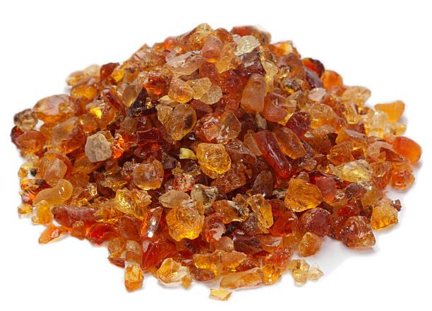 pile of Gum Arabic over white stock photo