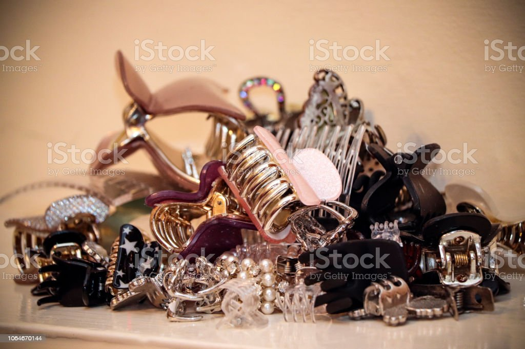 Pile of hair clips stock photo