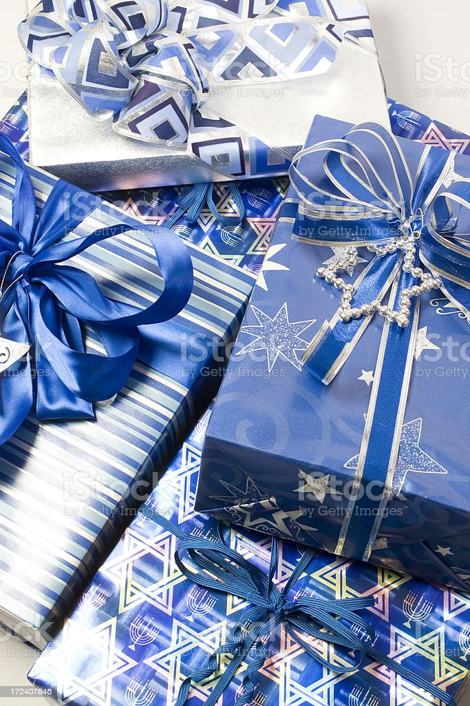 Pile of Hanukkah Gifts royalty-free stock photo